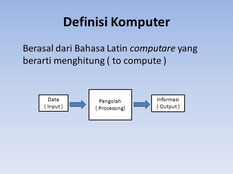 Definisi Komputer Berasal dari Bahasa Latin computare yang berarti menghitung ( to compute ) Data ( Input ) Pengolah ( Processing) Informasi ( Output )