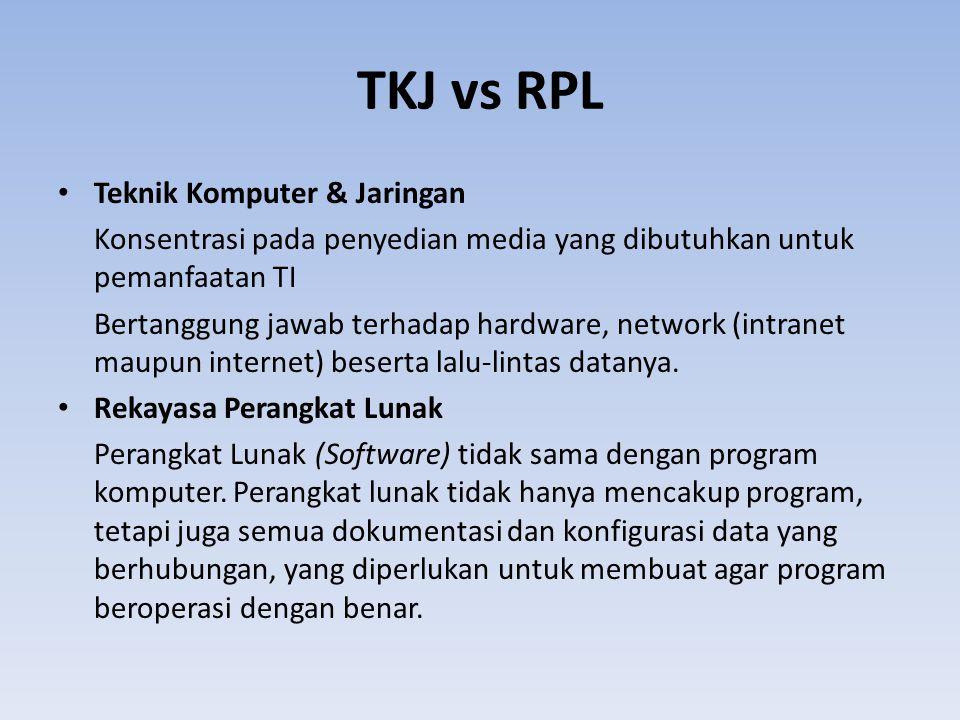 TKJ vs RPL Teknik Komputer & Jaringan Konsentrasi pada penyedian media yang dibutuhkan untuk pemanfaatan TI Bertanggung jawab terhadap hardware, network (intranet maupun internet) beserta lalu-lintas datanya.