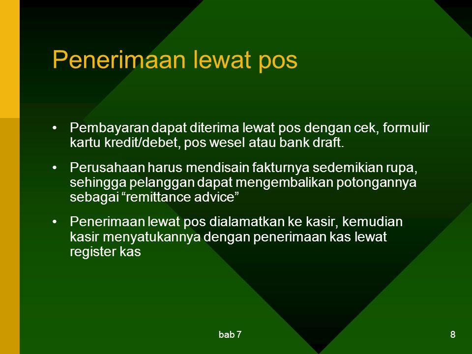bab 7 9 Pengendalian internal Pembayaran Kas Pembayaran hanya dilakukan untuk transaksi yang sah saja dan dijamin bahwa potongan pembelian dan potongan tunai diambil Cek disiapkan oleh orang yang tidak menandatangani cek