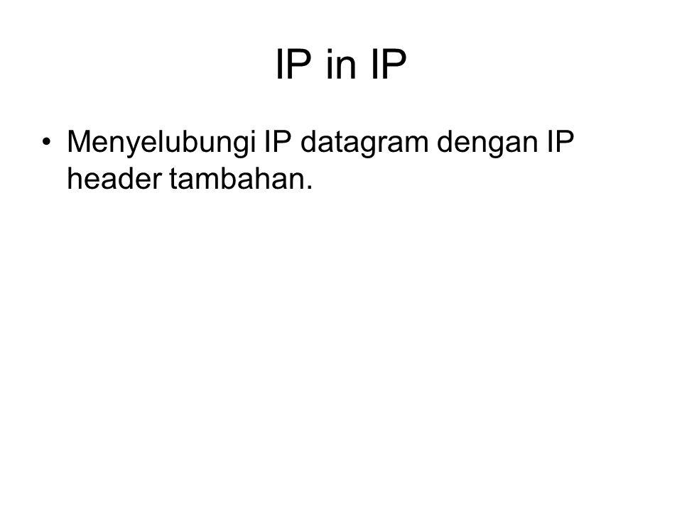 IP in IP Menyelubungi IP datagram dengan IP header tambahan.