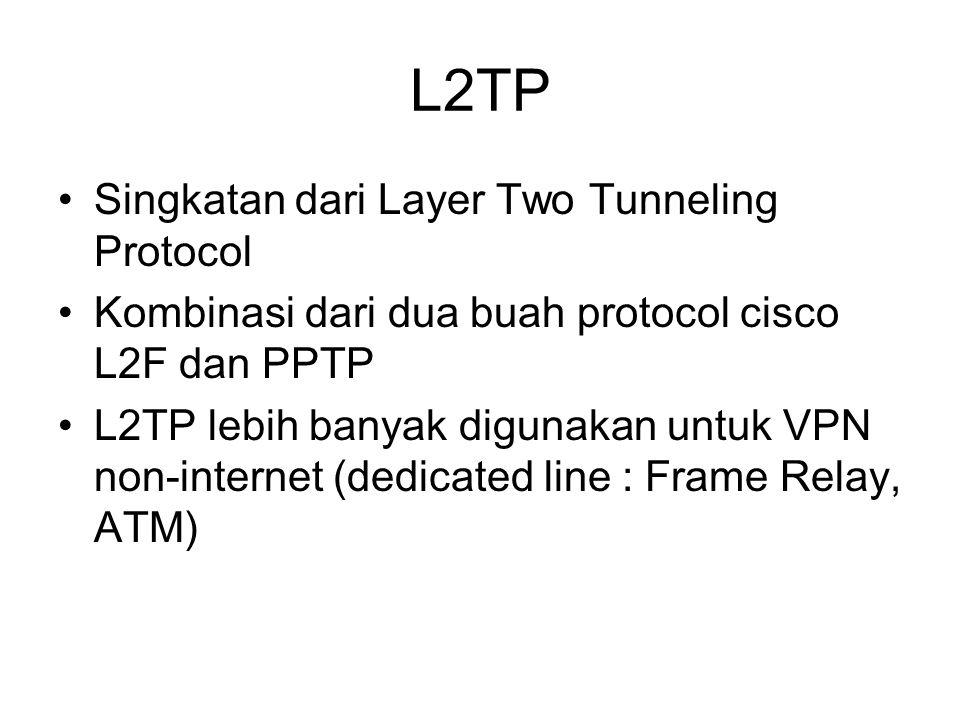 L2TP Singkatan dari Layer Two Tunneling Protocol Kombinasi dari dua buah protocol cisco L2F dan PPTP L2TP lebih banyak digunakan untuk VPN non-internet (dedicated line : Frame Relay, ATM)
