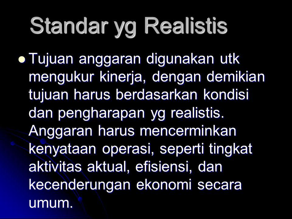 Standar yg Realistis Tujuan anggaran digunakan utk mengukur kinerja, dengan demikian tujuan harus berdasarkan kondisi dan pengharapan yg realistis. An