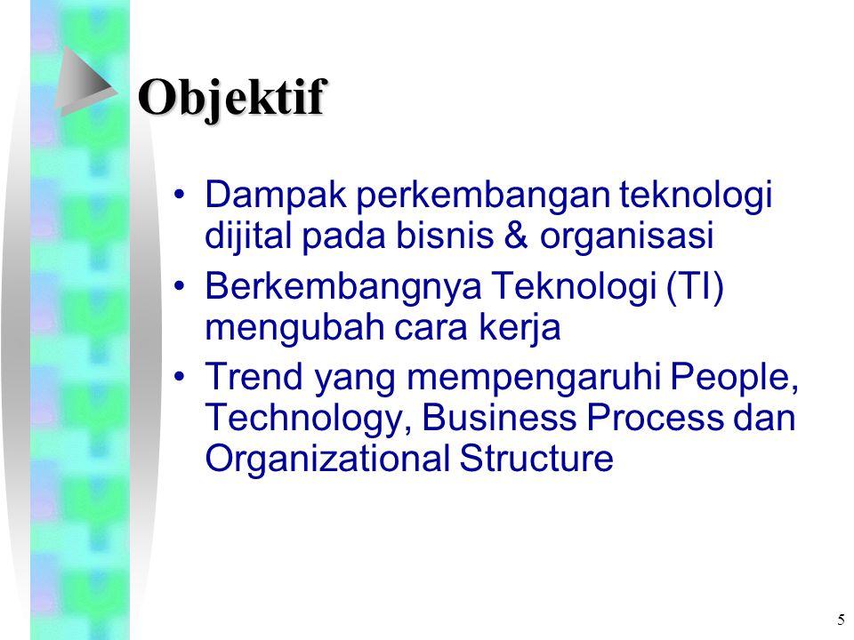 5 Objektif Dampak perkembangan teknologi dijital pada bisnis & organisasi Berkembangnya Teknologi (TI) mengubah cara kerja Trend yang mempengaruhi People, Technology, Business Process dan Organizational Structure