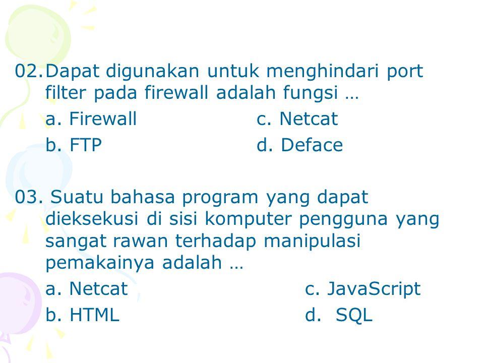 02.Dapat digunakan untuk menghindari port filter pada firewall adalah fungsi … a.