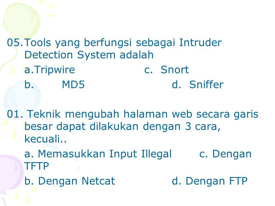 05.Tools yang berfungsi sebagai Intruder Detection System adalah a.Tripwirec.