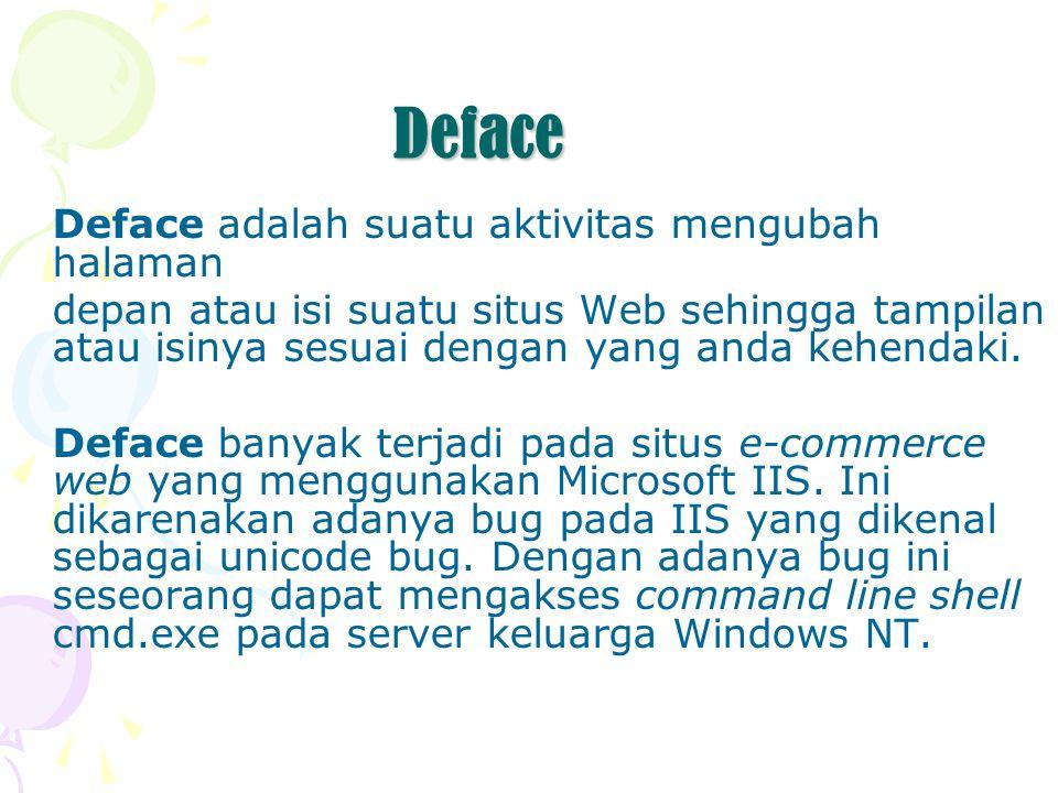 Deface Deface adalah suatu aktivitas mengubah halaman depan atau isi suatu situs Web sehingga tampilan atau isinya sesuai dengan yang anda kehendaki.