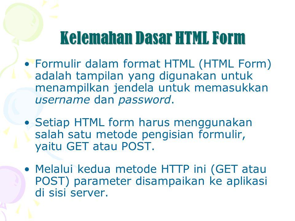 Kelemahan Dasar HTML Form Formulir dalam format HTML (HTML Form) adalah tampilan yang digunakan untuk menampilkan jendela untuk memasukkan username dan password.