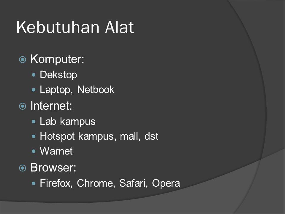 Kebutuhan Alat  Komputer: Dekstop Laptop, Netbook  Internet: Lab kampus Hotspot kampus, mall, dst Warnet  Browser: Firefox, Chrome, Safari, Opera