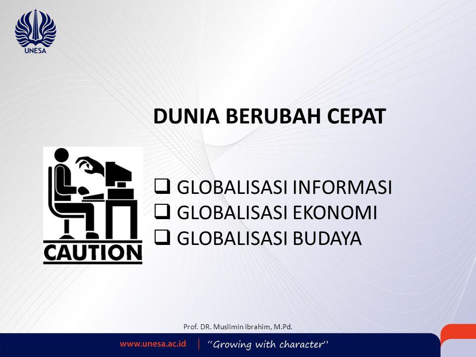 DUNIA BERUBAH CEPAT  GLOBALISASI INFORMASI  GLOBALISASI EKONOMI  GLOBALISASI BUDAYA Prof. DR. Muslimin Ibrahim, M.Pd.