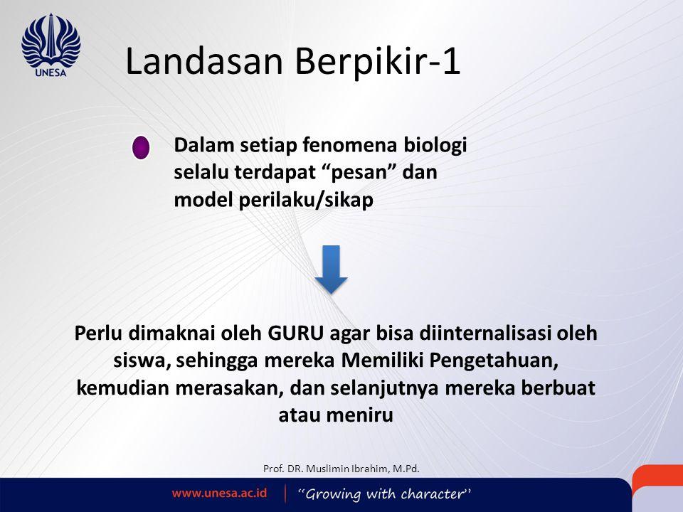 "Landasan Berpikir-1 Dalam setiap fenomena biologi selalu terdapat ""pesan"" dan model perilaku/sikap Prof. DR. Muslimin Ibrahim, M.Pd. Perlu dimaknai ol"