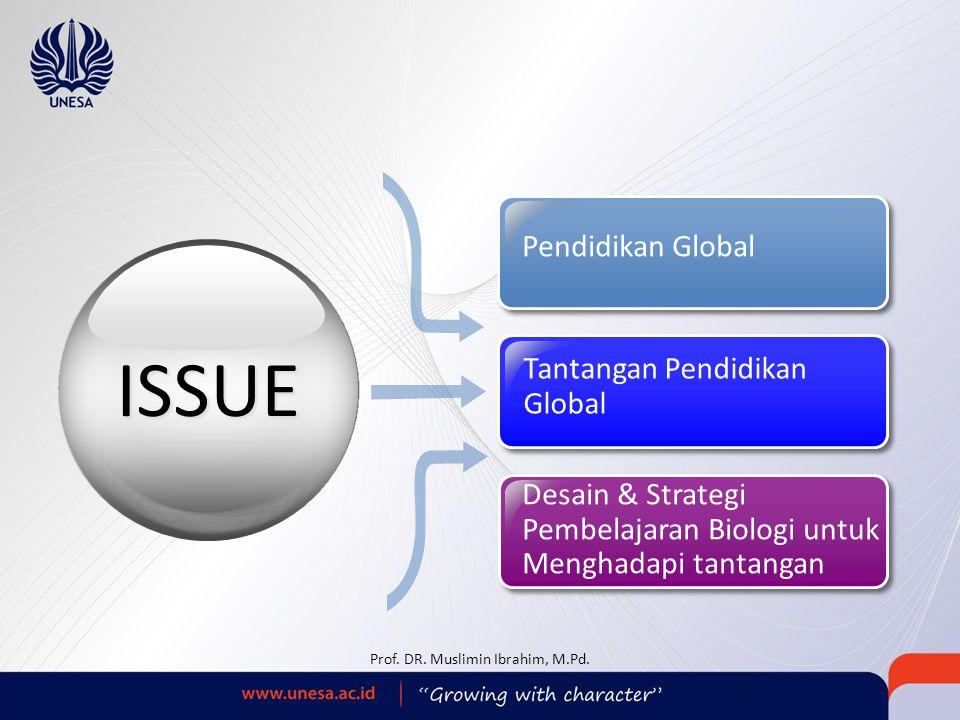 Tantangan Pendidikan Global Pendidikan Global Desain & Strategi Pembelajaran Biologi untuk Menghadapi tantangan ISSUE Prof. DR. Muslimin Ibrahim, M.Pd