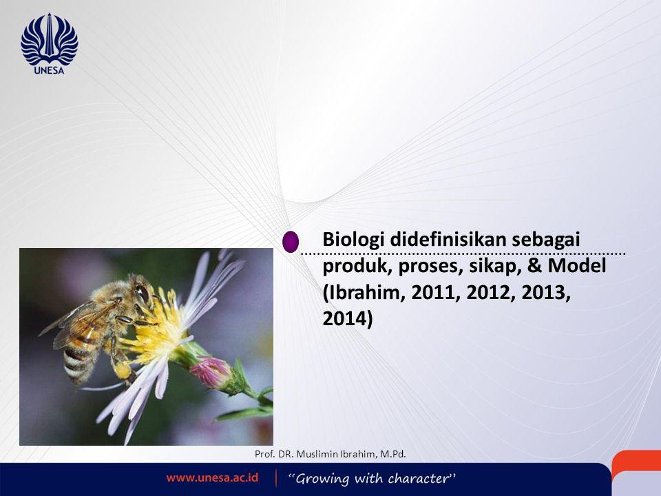 Biologi didefinisikan sebagai produk, proses, sikap, & Model (Ibrahim, 2011, 2012, 2013, 2014) Prof. DR. Muslimin Ibrahim, M.Pd.