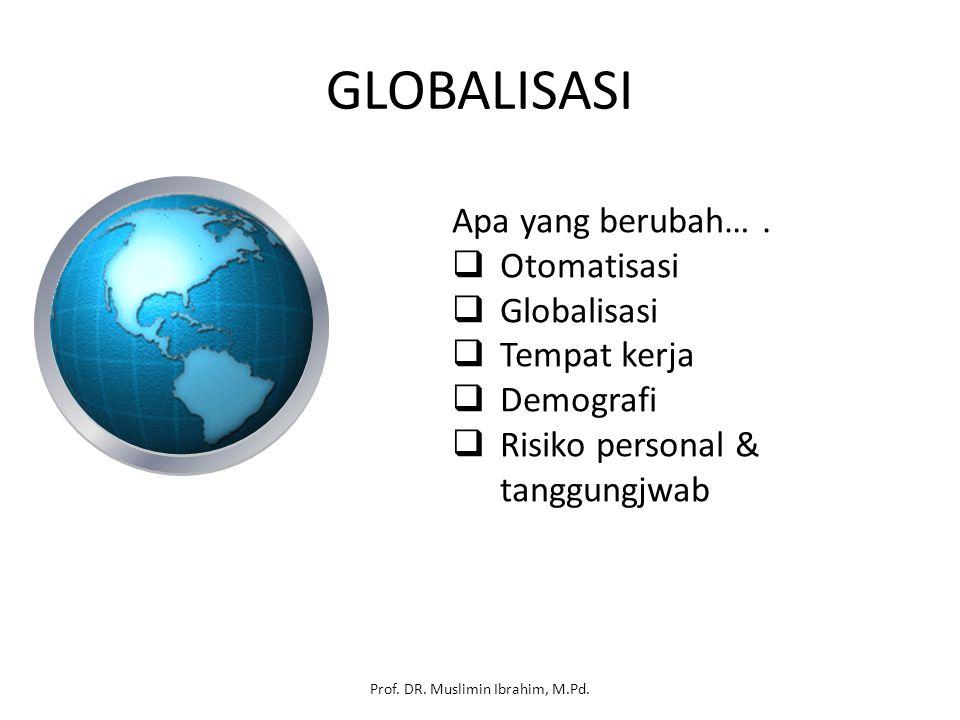 GLOBALISASI Apa yang berubah….  Otomatisasi  Globalisasi  Tempat kerja  Demografi  Risiko personal & tanggungjwab Prof. DR. Muslimin Ibrahim, M.P