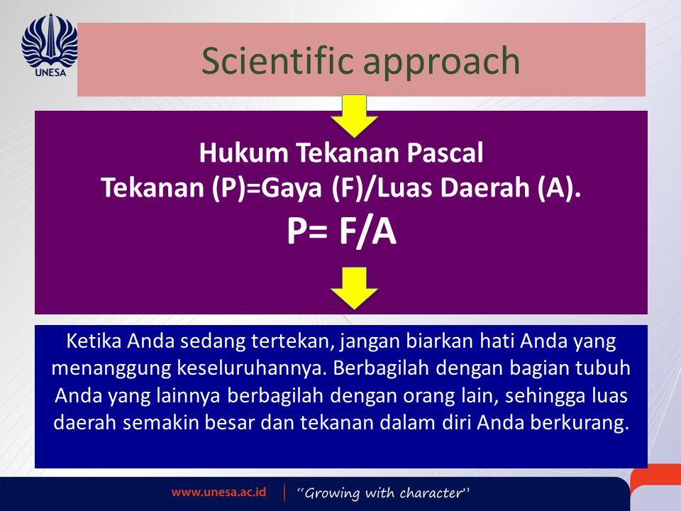 Scientific approach Hukum Tekanan Pascal Tekanan (P)=Gaya (F)/Luas Daerah (A). P= F/A Ketika Anda sedang tertekan, jangan biarkan hati Anda yang menan