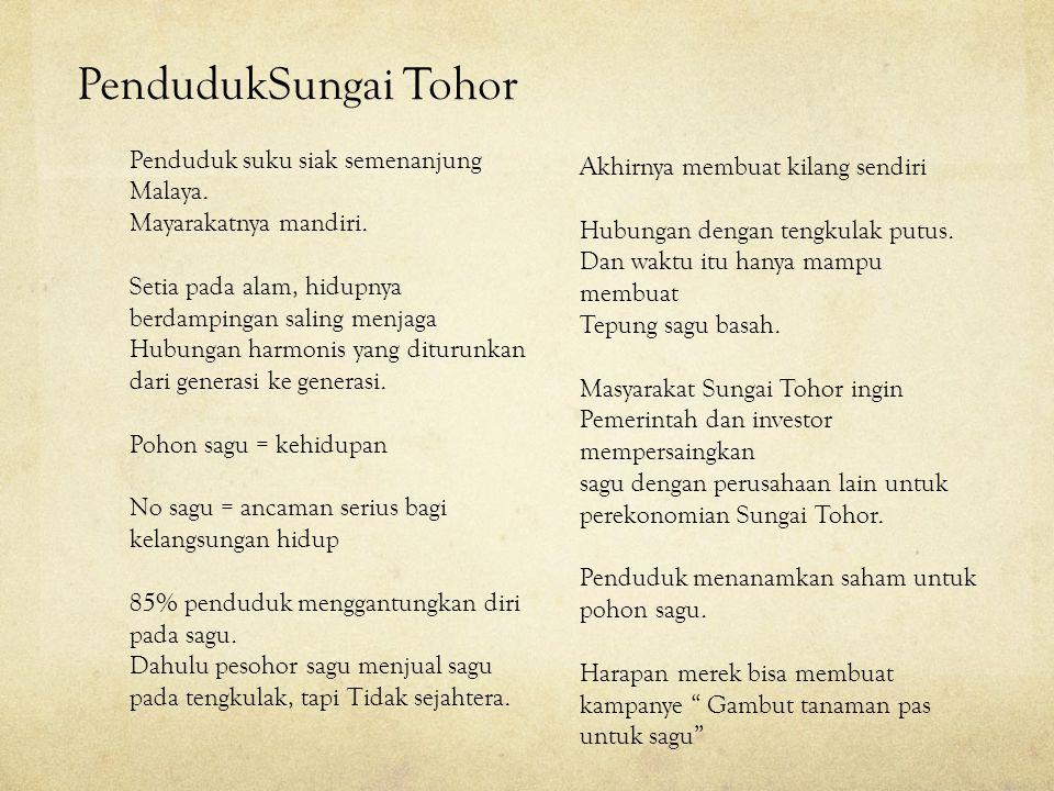 PendudukSungai Tohor Penduduk suku siak semenanjung Malaya. Mayarakatnya mandiri. Setia pada alam, hidupnya berdampingan saling menjaga Hubungan harmo