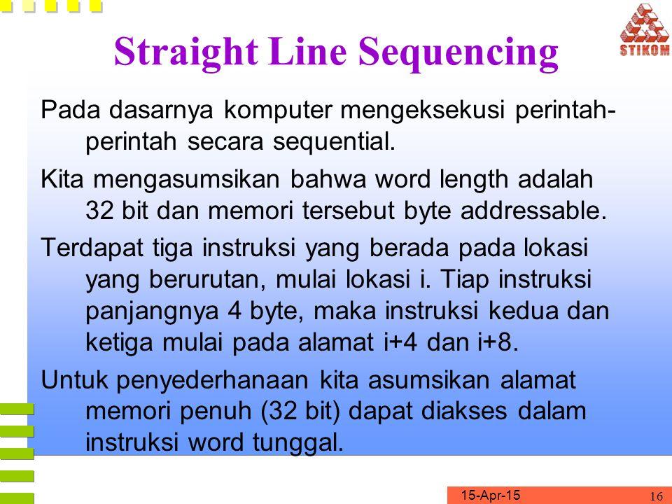 15-Apr-15 16 Straight Line Sequencing Pada dasarnya komputer mengeksekusi perintah- perintah secara sequential. Kita mengasumsikan bahwa word length a
