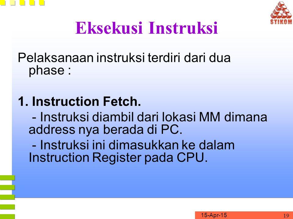 15-Apr-15 19 Eksekusi Instruksi Pelaksanaan instruksi terdiri dari dua phase : 1. Instruction Fetch. - Instruksi diambil dari lokasi MM dimana address