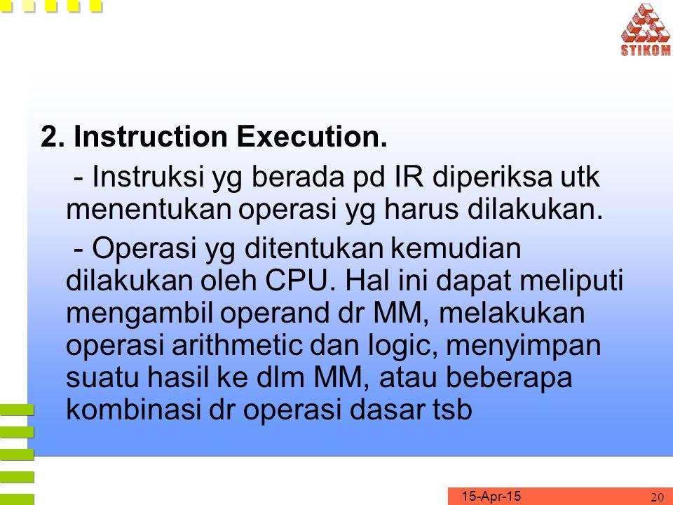 15-Apr-15 20 2. Instruction Execution. - Instruksi yg berada pd IR diperiksa utk menentukan operasi yg harus dilakukan. - Operasi yg ditentukan kemudi