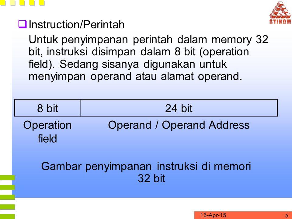 15-Apr-15 6  Instruction/Perintah Untuk penyimpanan perintah dalam memory 32 bit, instruksi disimpan dalam 8 bit (operation field). Sedang sisanya di
