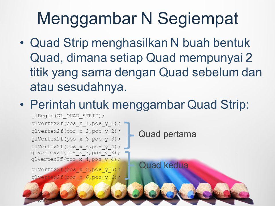 Menggambar N Segiempat Quad Strip menghasilkan N buah bentuk Quad, dimana setiap Quad mempunyai 2 titik yang sama dengan Quad sebelum dan atau sesudahnya.