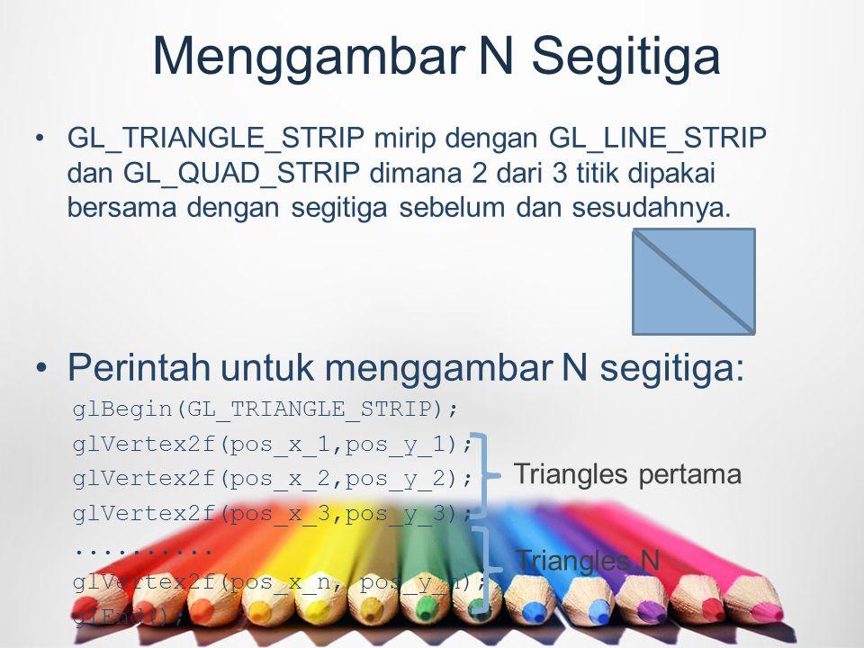 Menggambar N Segitiga GL_TRIANGLE_STRIP mirip dengan GL_LINE_STRIP dan GL_QUAD_STRIP dimana 2 dari 3 titik dipakai bersama dengan segitiga sebelum dan sesudahnya.