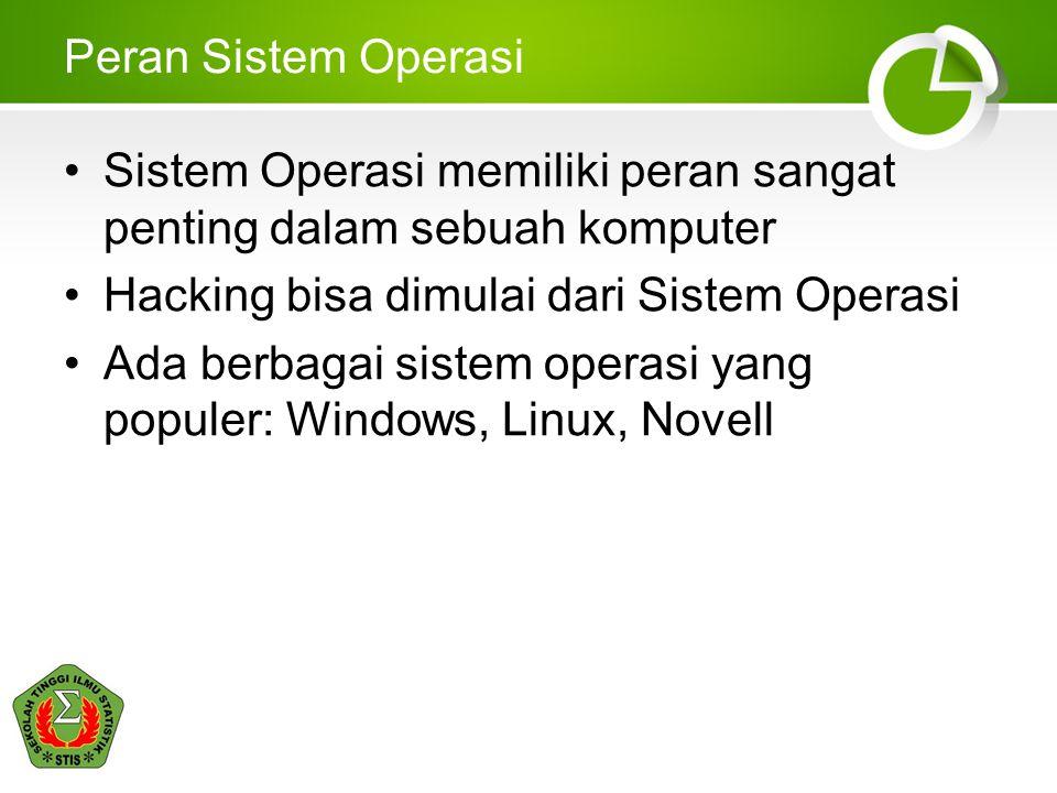 Peran Sistem Operasi Sistem Operasi memiliki peran sangat penting dalam sebuah komputer Hacking bisa dimulai dari Sistem Operasi Ada berbagai sistem o