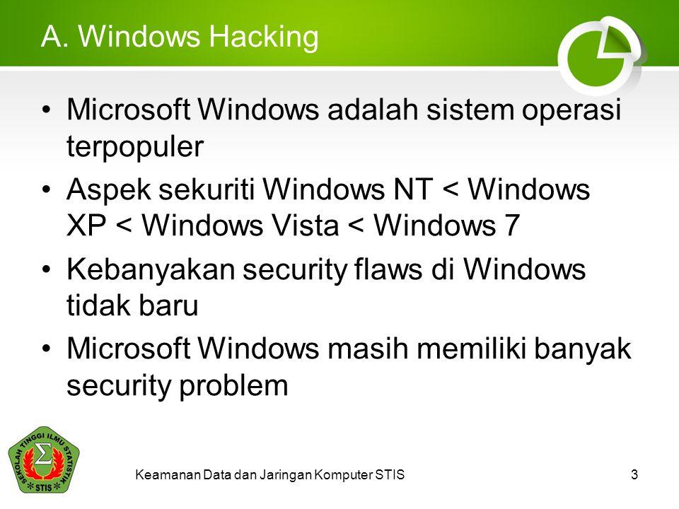 Keamanan Data dan Jaringan Komputer STIS3 A. Windows Hacking Microsoft Windows adalah sistem operasi terpopuler Aspek sekuriti Windows NT < Windows XP