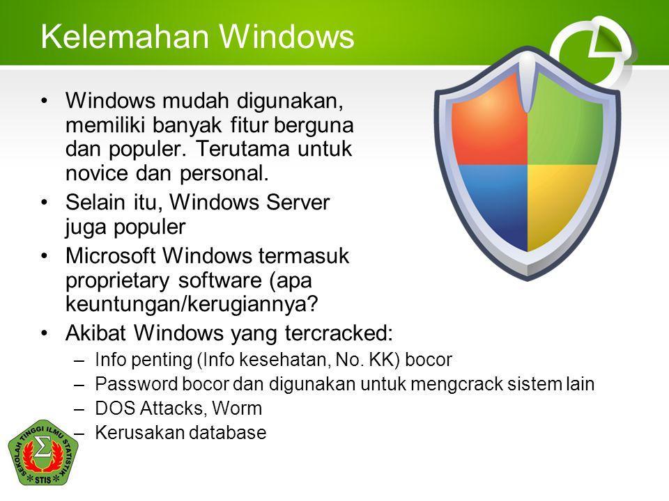 Kelemahan Windows Windows mudah digunakan, memiliki banyak fitur berguna dan populer. Terutama untuk novice dan personal. Selain itu, Windows Server j