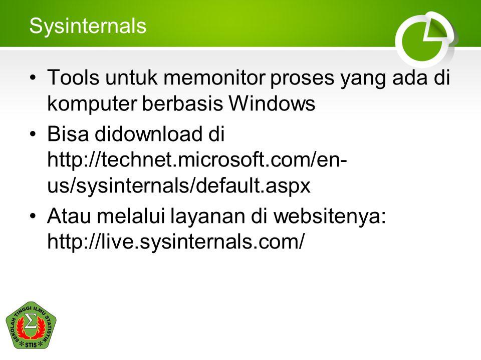 Sysinternals Tools untuk memonitor proses yang ada di komputer berbasis Windows Bisa didownload di http://technet.microsoft.com/en- us/sysinternals/de