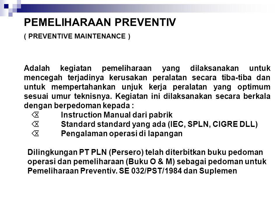 Adalah kegiatan pemeliharaan yang dilaksanakan untuk mencegah terjadinya kerusakan peralatan secara tiba-tiba dan untuk mempertahankan unjuk kerja per