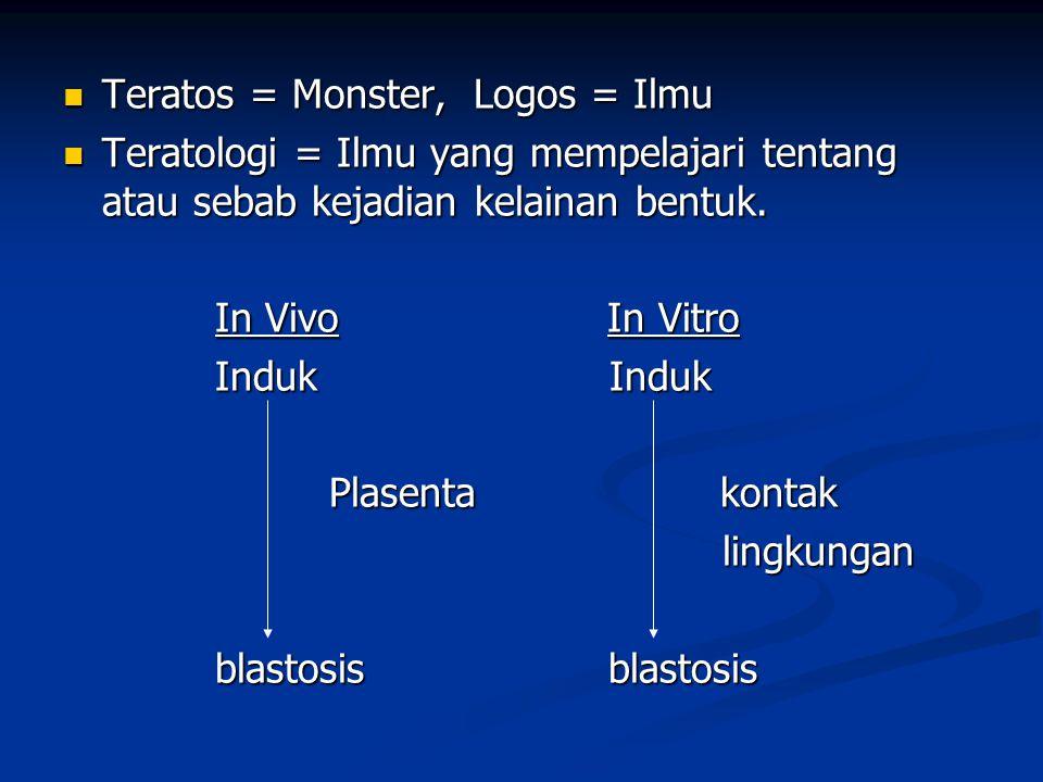 Abnormalitas : Struktur Struktur Perilaku Malformasi kongenital Perilaku Malformasi kongenital Faal cacat lahir Faal cacat lahir Deteksi sulit Deteksi sulit Genetik Lingkungan Genetik Lingkungan