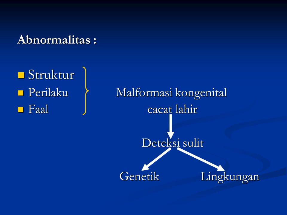 Abnormalitas : Struktur Struktur Perilaku Malformasi kongenital Perilaku Malformasi kongenital Faal cacat lahir Faal cacat lahir Deteksi sulit Deteksi