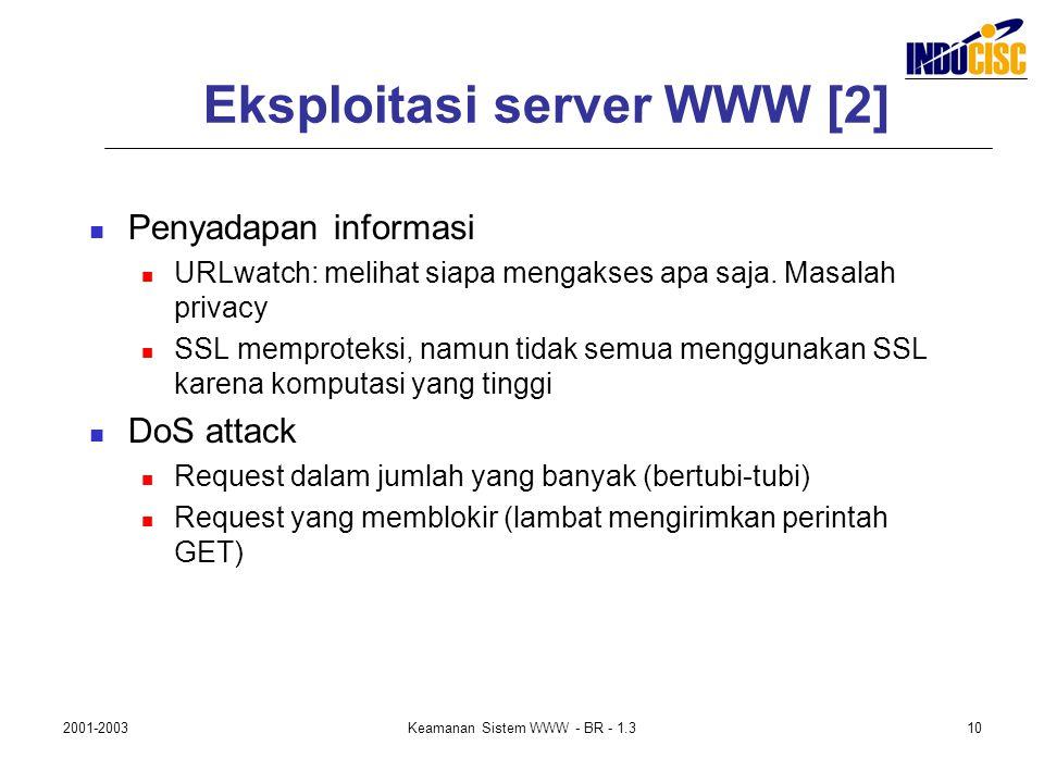 2001-2003Keamanan Sistem WWW - BR - 1.310 Eksploitasi server WWW [2] Penyadapan informasi URLwatch: melihat siapa mengakses apa saja. Masalah privacy