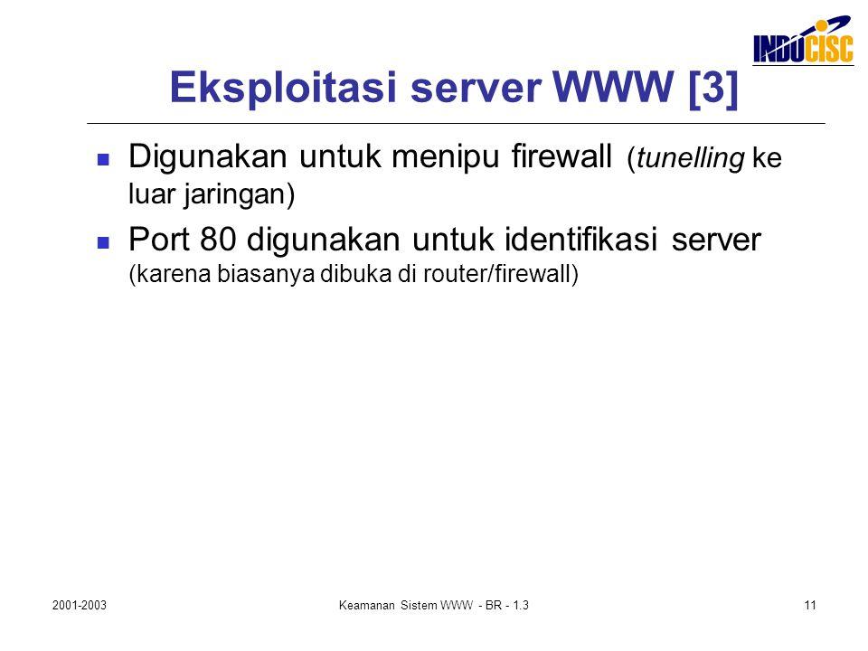 2001-2003Keamanan Sistem WWW - BR - 1.311 Eksploitasi server WWW [3] Digunakan untuk menipu firewall (tunelling ke luar jaringan) Port 80 digunakan un
