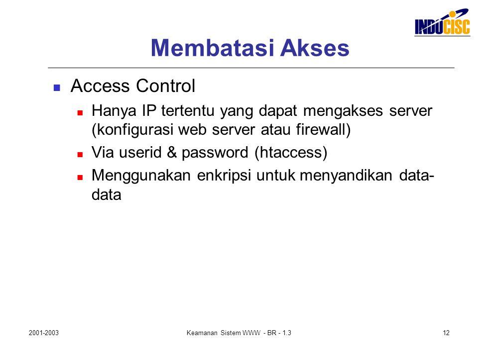 2001-2003Keamanan Sistem WWW - BR - 1.312 Membatasi Akses Access Control Hanya IP tertentu yang dapat mengakses server (konfigurasi web server atau fi