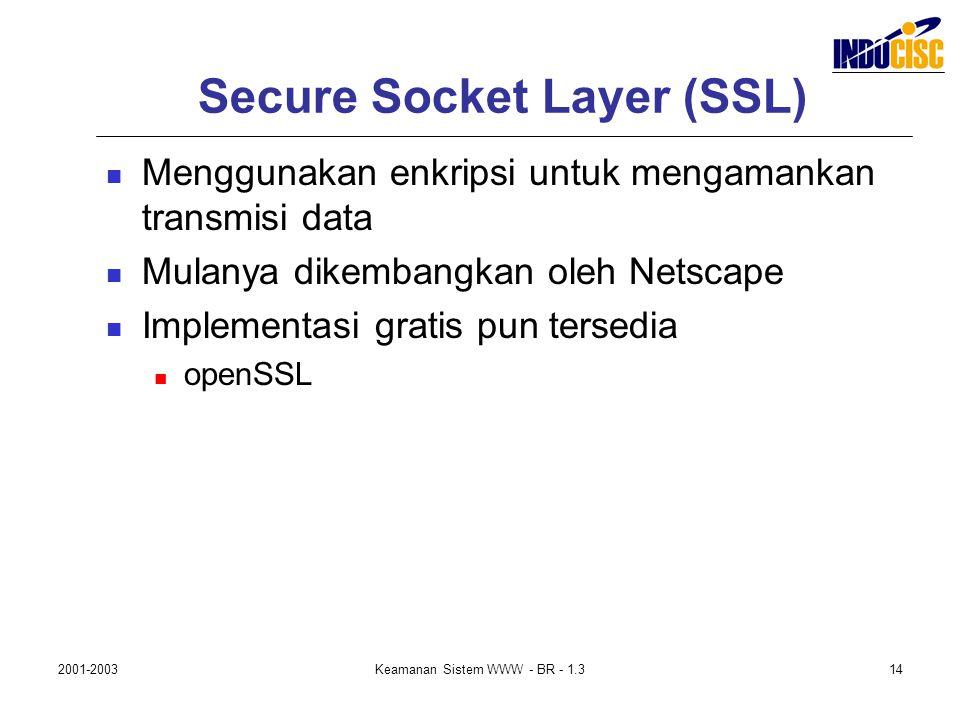 2001-2003Keamanan Sistem WWW - BR - 1.314 Secure Socket Layer (SSL) Menggunakan enkripsi untuk mengamankan transmisi data Mulanya dikembangkan oleh Ne