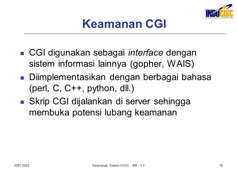 2001-2003Keamanan Sistem WWW - BR - 1.316 Keamanan CGI CGI digunakan sebagai interface dengan sistem informasi lainnya (gopher, WAIS) Diimplementasika