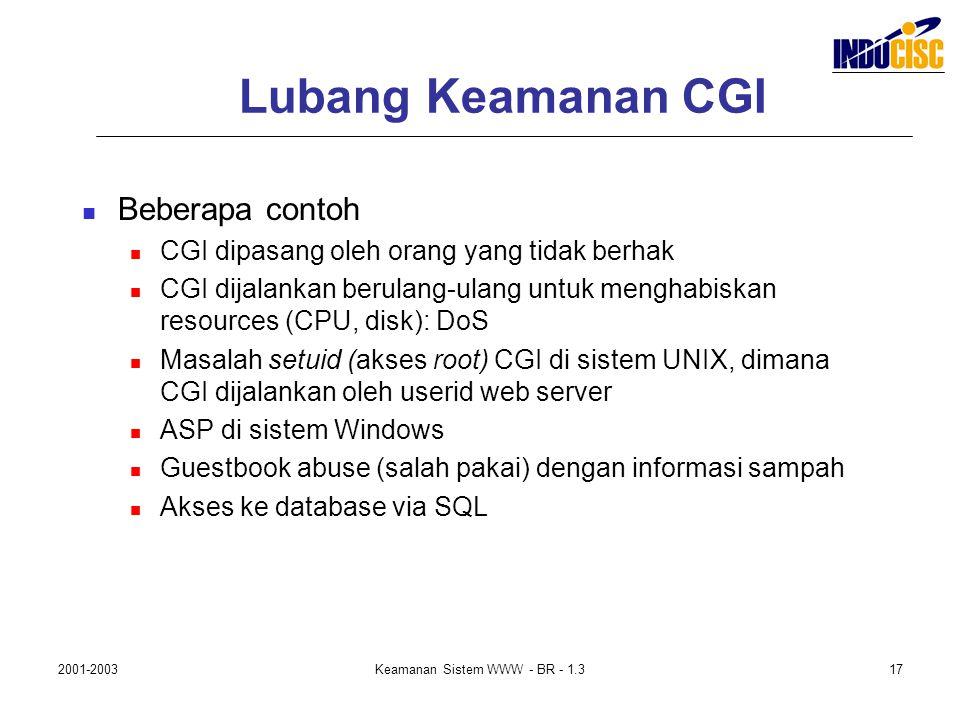 2001-2003Keamanan Sistem WWW - BR - 1.317 Lubang Keamanan CGI Beberapa contoh CGI dipasang oleh orang yang tidak berhak CGI dijalankan berulang-ulang