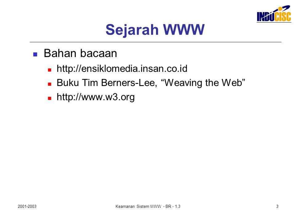 "2001-2003Keamanan Sistem WWW - BR - 1.33 Sejarah WWW Bahan bacaan http://ensiklomedia.insan.co.id Buku Tim Berners-Lee, ""Weaving the Web"" http://www.w"