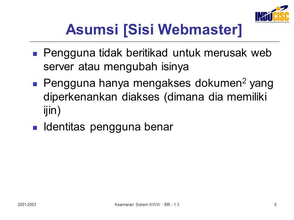 2001-2003Keamanan Sistem WWW - BR - 1.36 Asumsi [Sisi Webmaster] Pengguna tidak beritikad untuk merusak web server atau mengubah isinya Pengguna hanya