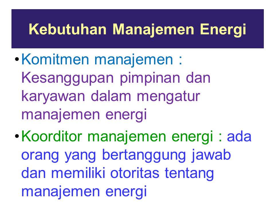 Kebutuhan Manajemen Energi Komitmen manajemen : Kesanggupan pimpinan dan karyawan dalam mengatur manajemen energi Koorditor manajemen energi : ada orang yang bertanggung jawab dan memiliki otoritas tentang manajemen energi