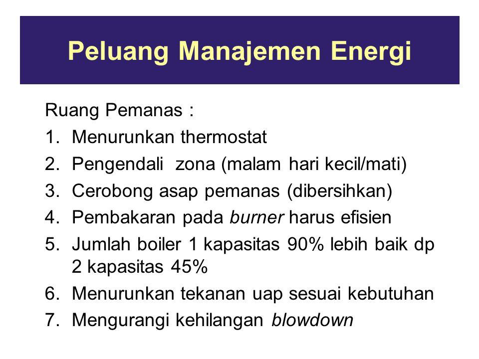 Peluang Manajemen Energi Ruang Pemanas : 1.Menurunkan thermostat 2.Pengendali zona (malam hari kecil/mati) 3.Cerobong asap pemanas (dibersihkan) 4.Pembakaran pada burner harus efisien 5.Jumlah boiler 1 kapasitas 90% lebih baik dp 2 kapasitas 45% 6.Menurunkan tekanan uap sesuai kebutuhan 7.Mengurangi kehilangan blowdown