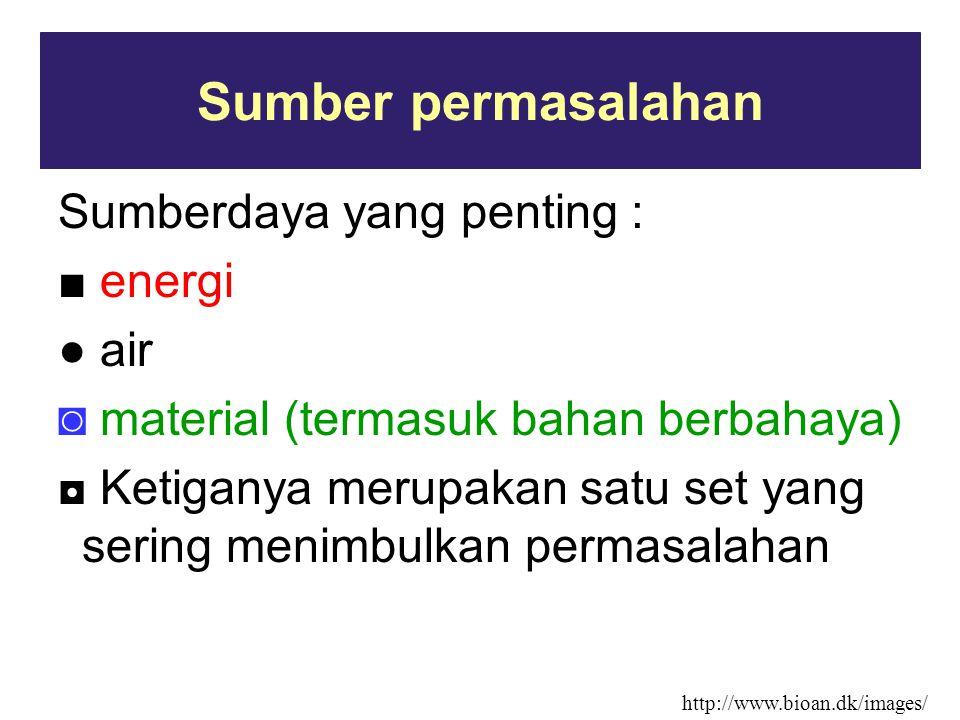 Sumber permasalahan Sumberdaya yang penting : ■ energi ● air ◙ material (termasuk bahan berbahaya) ◘ Ketiganya merupakan satu set yang sering menimbul