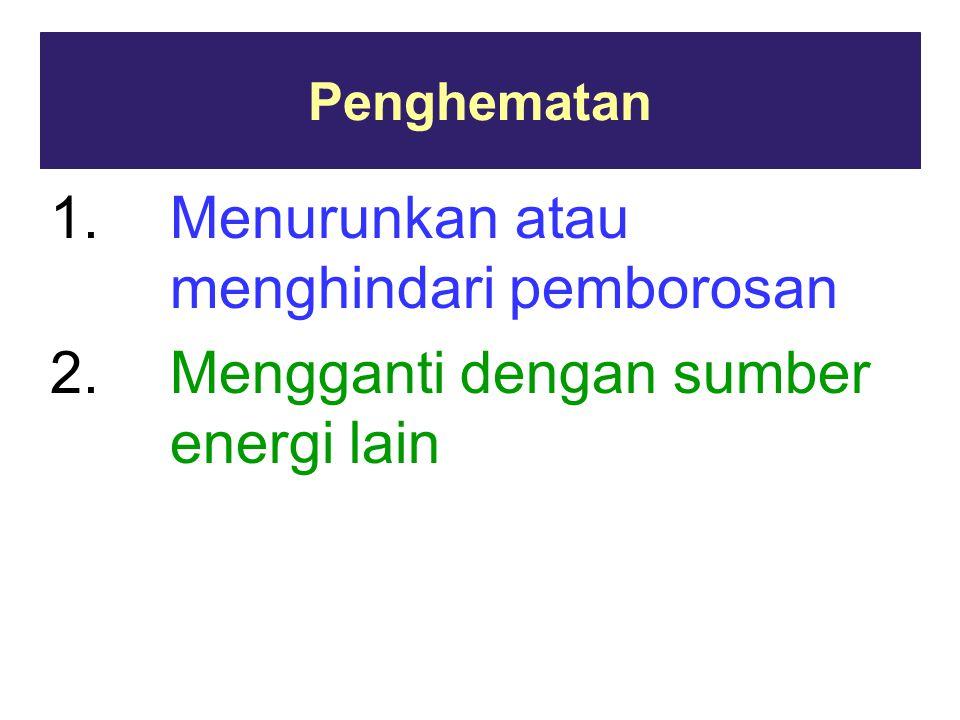 Penghematan 1.Menurunkan atau menghindari pemborosan 2.Mengganti dengan sumber energi lain