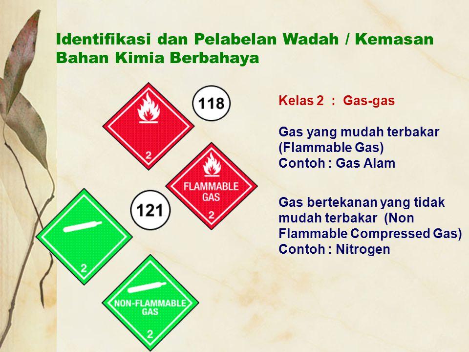 Identifikasi dan Pelabelan Wadah / Kemasan Bahan Kimia Berbahaya Kelas 2 : Gas-gas Gas yang mudah terbakar (Flammable Gas) Contoh : Gas Alam Gas berte