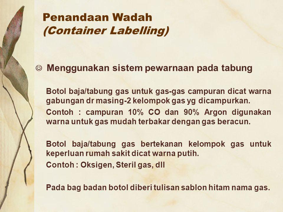 Penandaan Wadah (Container Labelling) Menggunakan sistem pewarnaan pada tabung Botol baja/tabung gas untuk gas-gas campuran dicat warna gabungan dr ma
