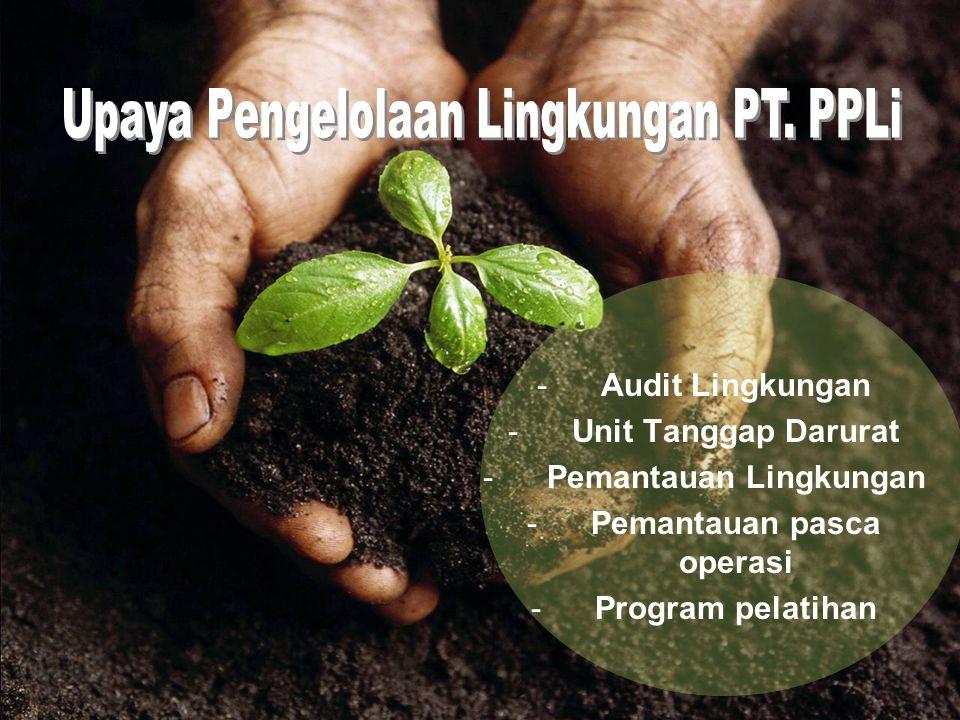 -Audit Lingkungan -Unit Tanggap Darurat -Pemantauan Lingkungan -Pemantauan pasca operasi -Program pelatihan