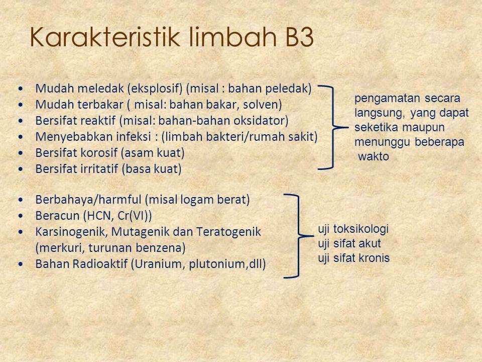Karakteristik limbah B3 Mudah meledak (eksplosif) (misal : bahan peledak) Mudah terbakar ( misal: bahan bakar, solven) Bersifat reaktif (misal: bahan-