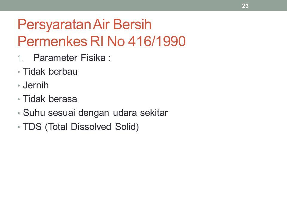 Persyaratan Air Bersih Permenkes RI No 416/1990 1. Parameter Fisika : Tidak berbau Jernih Tidak berasa Suhu sesuai dengan udara sekitar TDS (Total Dis