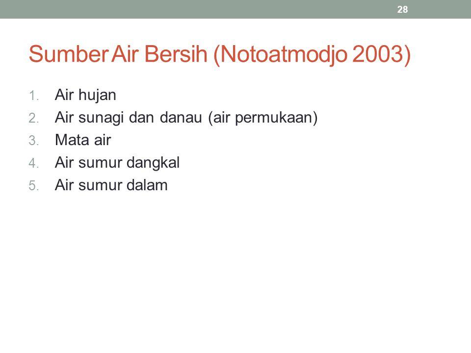 Sumber Air Bersih (Notoatmodjo 2003) 1. Air hujan 2. Air sunagi dan danau (air permukaan) 3. Mata air 4. Air sumur dangkal 5. Air sumur dalam 28